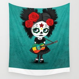 Day of the Dead Girl Playing Ethiopian Flag Guitar Wall Tapestry