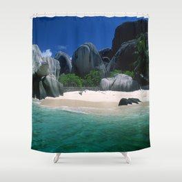 Seychelles Islands' Beach and Emerald Green Indian Ocean Shower Curtain