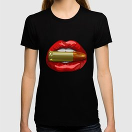 Biting The Bullet Red Lips on Black T-shirt