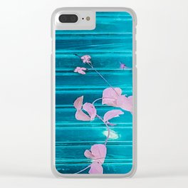 blue wooden wall pink jasmine minimal Clear iPhone Case