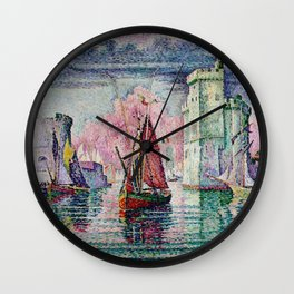 Classical Masterpiece 'The Port Of La Rochelle, Bay of Biscay, France' by Paul Signac Wall Clock