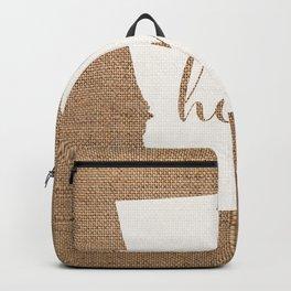 Georgia is Home - White on Burlap Backpack