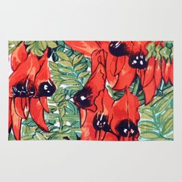 Vintage Australian Sturt's Desert Pea Flower Rug