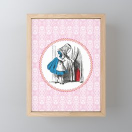 Alice in Wonderland   Alice finds Key and the Door to Wonderland   Pink Damask Pattern   Framed Mini Art Print