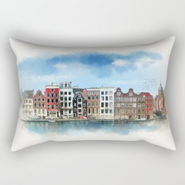 Embankments of Amsterdam. The Netherlands. Rectangular Pillow