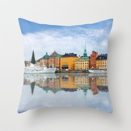 A Panorama of Gamla Stan in Stockholm, Sweden Throw Pillow