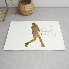 American baseball player in watercolor Rug