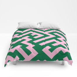 Cotton Candy Pink and Cadmium Green Diagonal Labyrinth Comforters