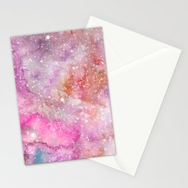 Silky Stars - Watercolor Galaxy Painting Laced with Stars Stationery Cards