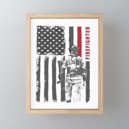 Proud USA Firefighter graphic - perfect present Framed Mini Art Print