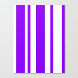 Mixed Vertical Stripes - White and Violet Canvas Print