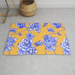 Chinoiserie Floral Golden Yellow Rug
