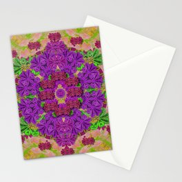 Rainbow and peacock mandala in heavy metal style Stationery Cards