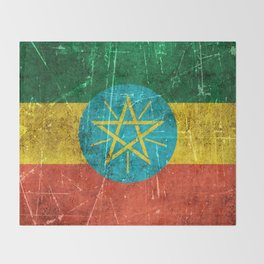 Vintage Aged and Scratched Ethiopian Flag Throw Blanket