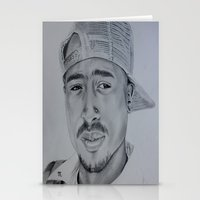 tupac Stationery Cards featuring Tupac  by Brooke Shane