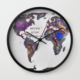 """Star map. Never stop exploring...II"". World map. Wall Clock"
