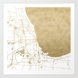 Chicago Gold and White Map Art Print
