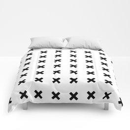 BLACK CROSS ON WHITE BACKGROUND Comforters
