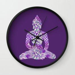 Buddha Vintage Floral Pattern Purple Wall Clock