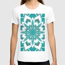 Teal Gray Mandala Flower T-shirt