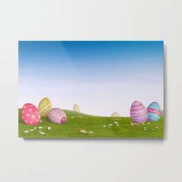 Decorated Easter eggs in a grassy hilly landscape Metal Print