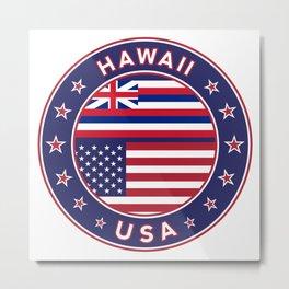 Hawaii, Hawaii t-shirt, Hawaii sticker, circle, Hawaii flag, white bg Metal Print