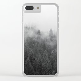 Black and White Mist Ombre Clear iPhone Case