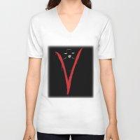 vendetta V-neck T-shirts featuring V for Vendetta (e6) by Ezgi Kaya
