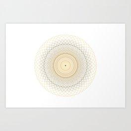Golden geometry on white Art Print