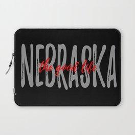 Nebraska - Black Background - The Good Life Laptop Sleeve