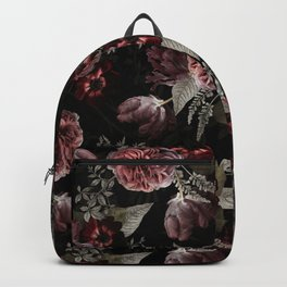 Dutch Vintage Midnight Roses Bouquets Pattern Backpack