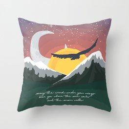 Where the Sun Sails and the Moon Walks Throw Pillow