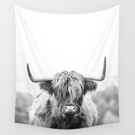 Highland Cow Longhorn in a Field Black and White Wall Tapestry