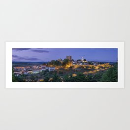 Braganca castle and town at dusk, Portugal Art Print