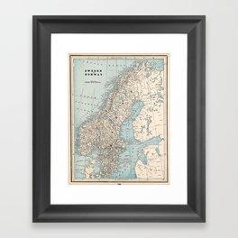 Vintage Map of Norway and Sweden (1893) Framed Art Print