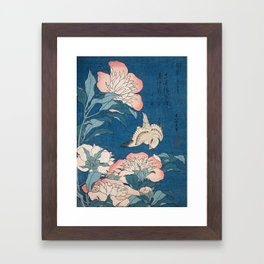 Katsushika Hokusai - Peonies and Canary, 1834 Framed Art Print
