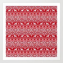 Cocker Spaniel fair isle christmas pattern dog breed holiday gifts red and white Art Print