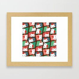 Christmas Cats in Santa Hats Framed Art Print