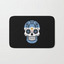 Sugar Skull with Roses and Flag of Argentina Bath Mat