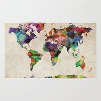 digital Area & Throw Rugs featuring World Map Urban Watercolor by artPause