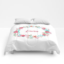 Custom Name - Floral Wreath Comforters