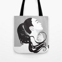 black swan Tote Bags featuring Swan by Stevyn Llewellyn