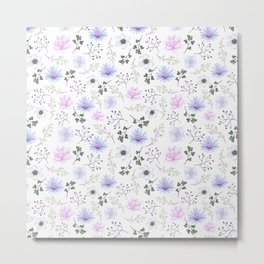 Girly blush pink lavender green watercolor floral Metal Print