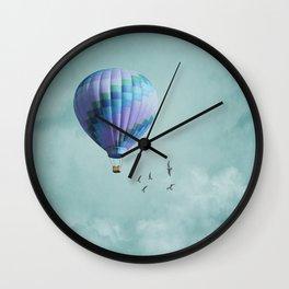 Aqua and Purple Hot Air Balloon Wall Clock