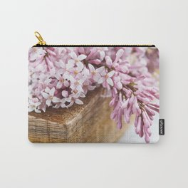 Close-up of lilac flowers in a wooden box. Carry-All Pouch