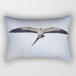 Swallow-tailed Kite (Elanoides forficatus) in flight with a grasshopper Rectangular Pillow