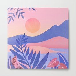 Hawaiian Sunset / Tropical Landscape Metal Print