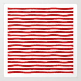 Red Horizontal Stripes Art Print