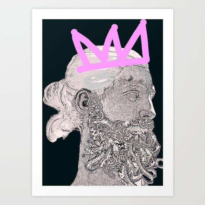 King_black/pink crown Art Print by hipsterdirtbag