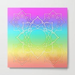 Rainbow Lotus Mandala Metal Print